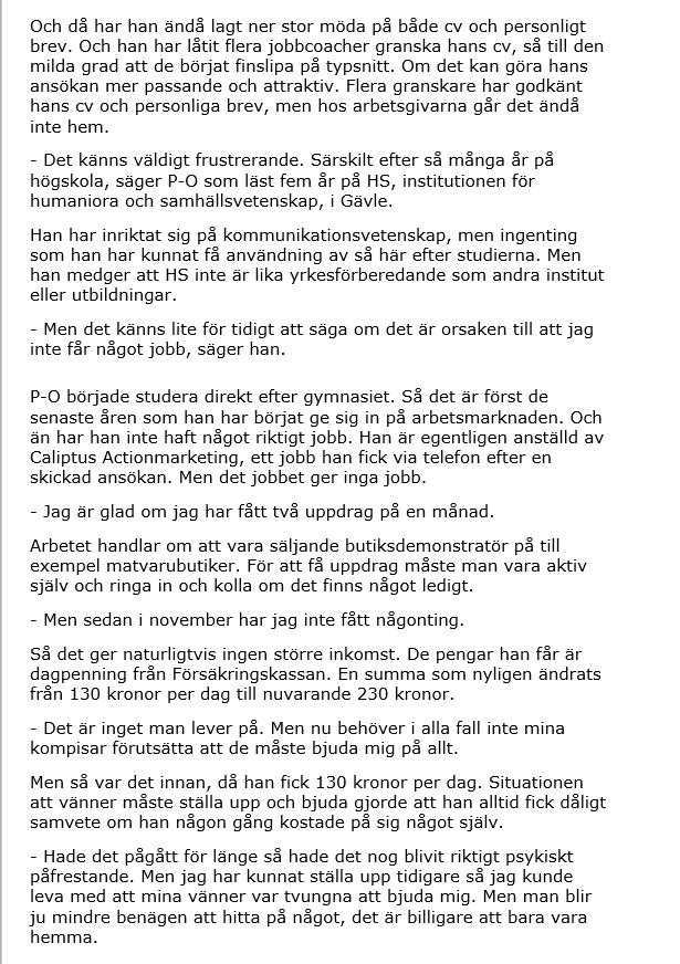 P-O Flodström Engagemang utan resultat