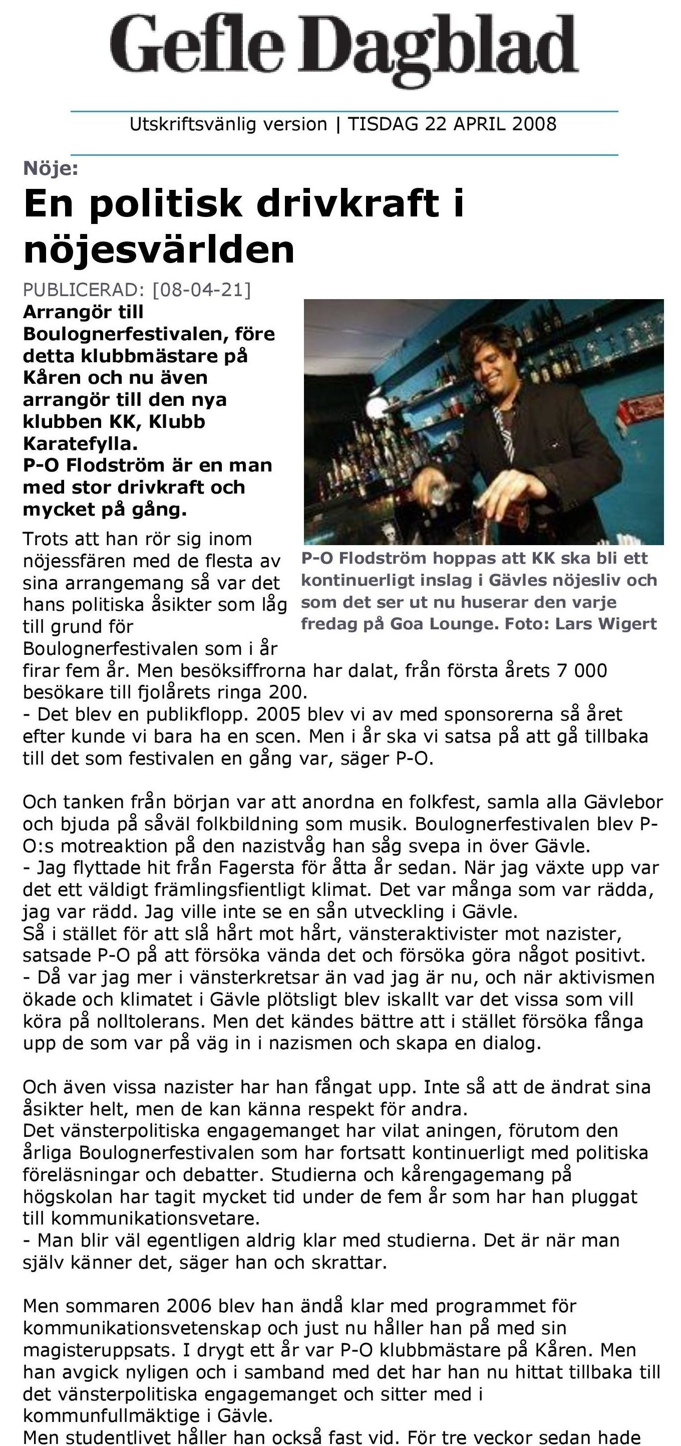 p-o flodström en politisk drivkraft i nöjesvarlden Gefle Dagblad